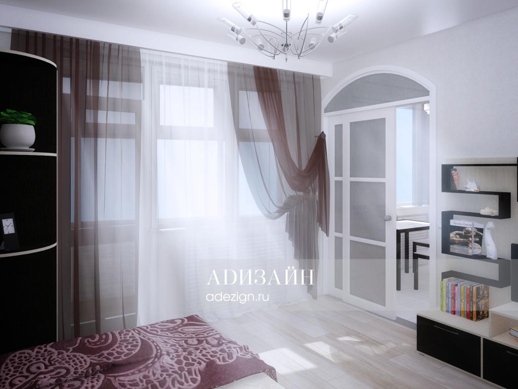 Спальная комната для мужчины. Вид на балкон