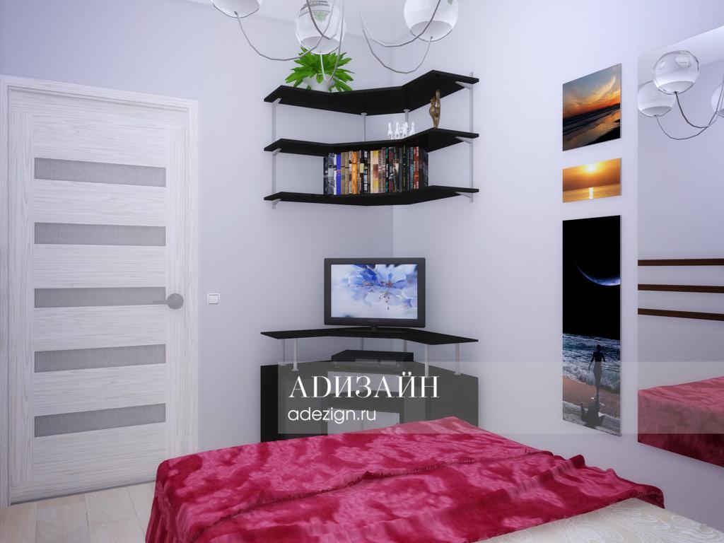 Спальная комната для женщины. Просмотр TV
