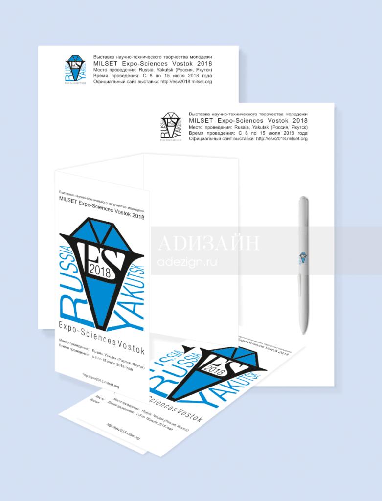 Бланк документации, буклет, шариковая ручка с логотипом ESV