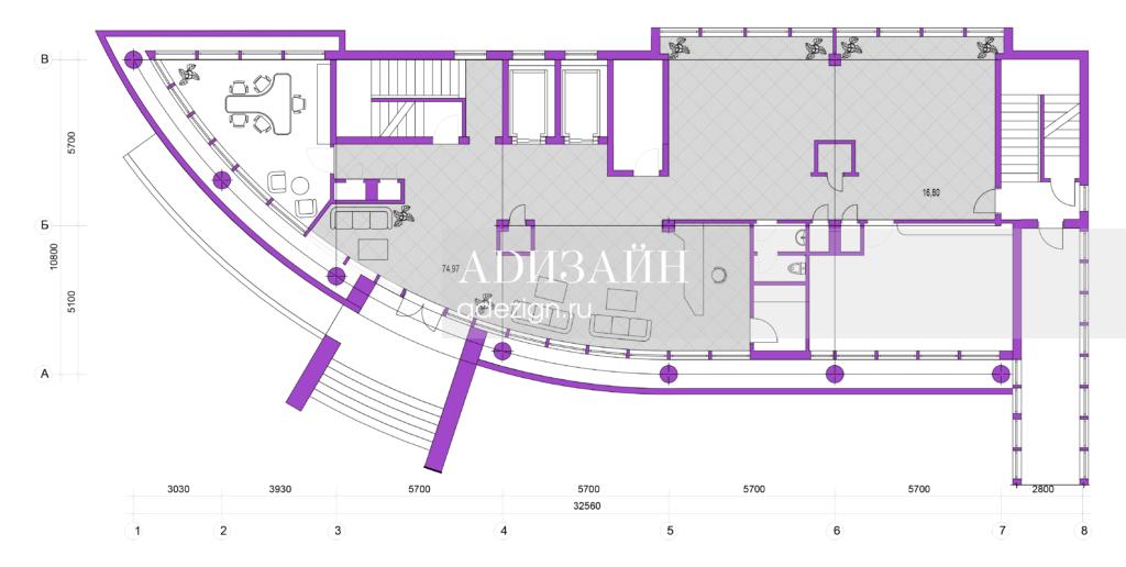 План входной группы гостиничного комплекса Олимп