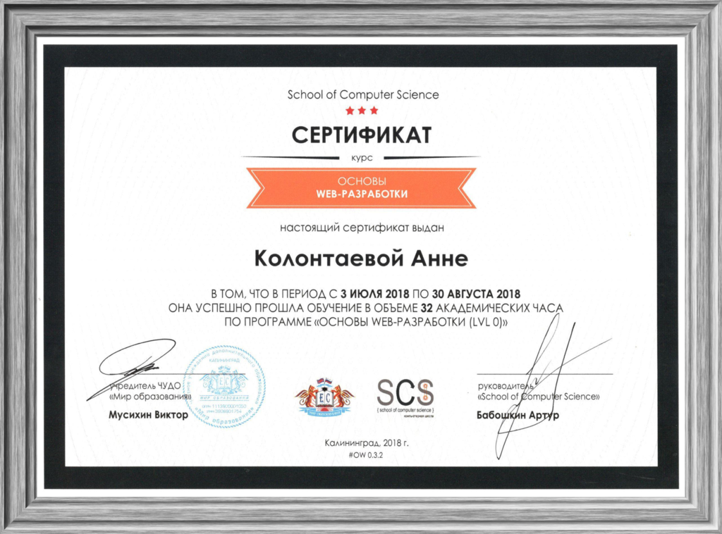 Сертификат о прохождении курса «Основы web-разработки». Уровень lvl 0