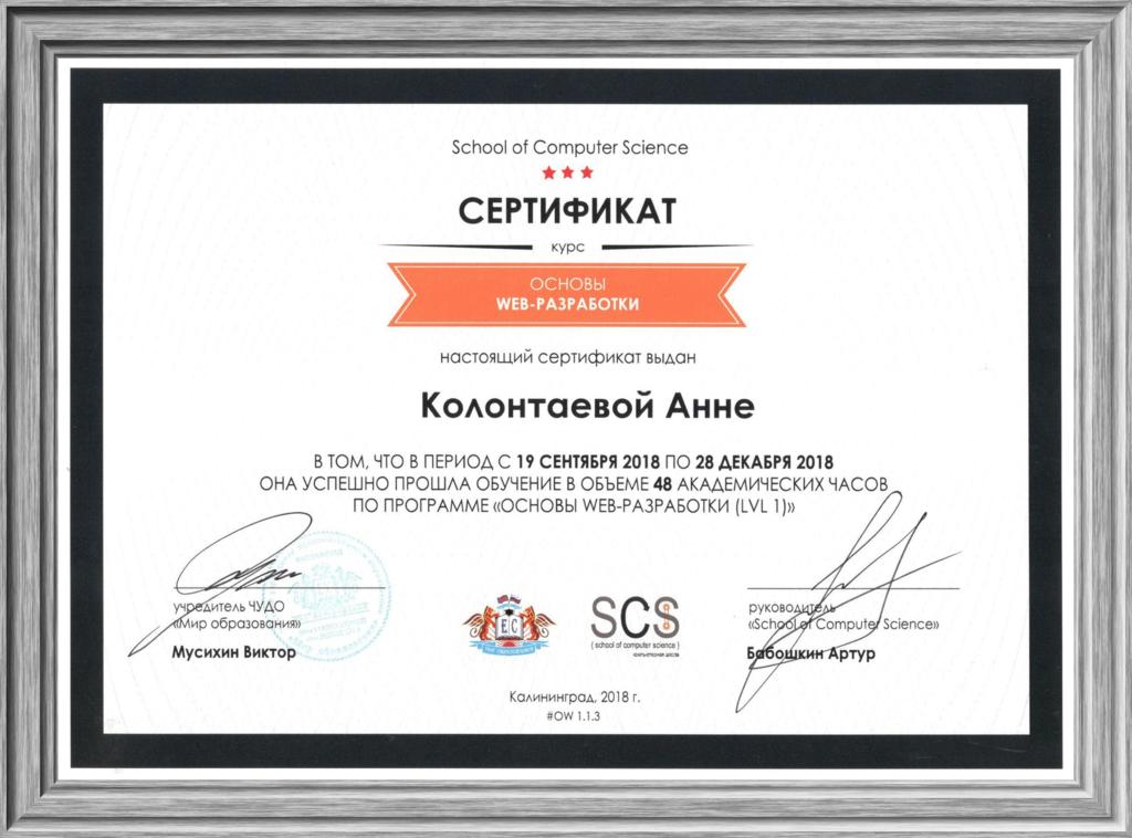 Сертификат о прохождении курса «Основы web-разработки». Уровень lvl 1